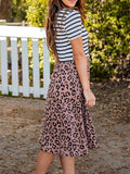 Leopard Print Striped Midi Dress With Pockets
