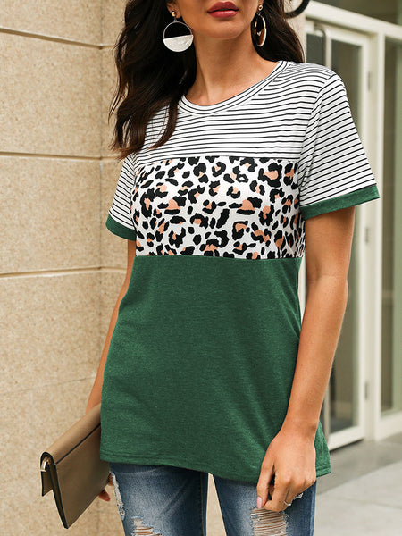 Leopard Print Striped Short Sleeve T-shirt