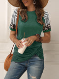 Striped Leopard Print Twist Short Sleeve T-shirt