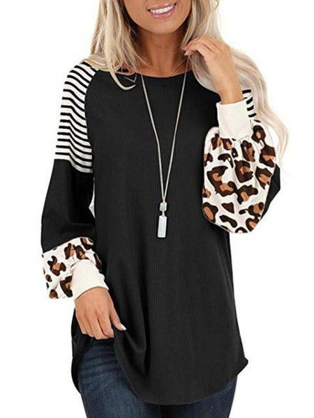 Leopard Print Striped Stitching T-shirt