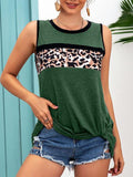 Leopard Print Twisted Tank Tops