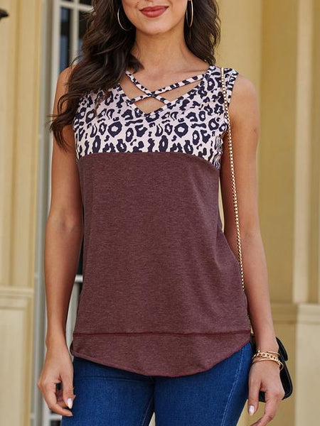 Leopard Print V-neck Tops