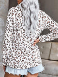 Leopard Print Zipper Up Sweatshirt