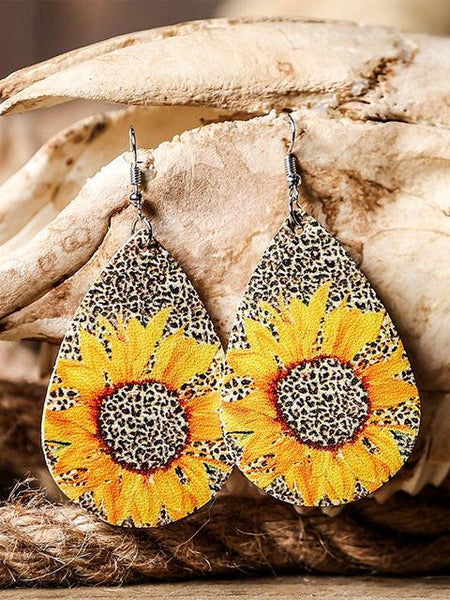 Leopard Printed Sunflower Leather Earrings