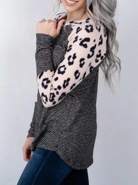 Leopard Sleeve Round Neck Striped Tops