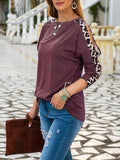 Leopard Sleeve Solid Tops