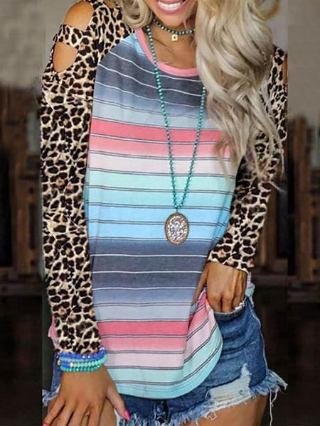 Leopard Sleeve Stripes Cold Shoulder Tops