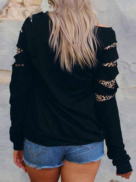 Leopard Splicing Christmas Print Sweatshirt