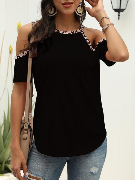 Leopard Splicing Cold Shoulder Tops