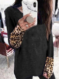 Leopard Stitched Long Sleeve Tops