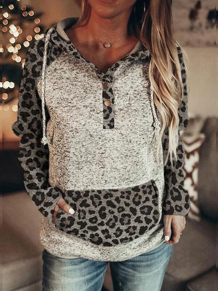 Leopard Stitching Pocket Buttons Hooded Sweatshirt