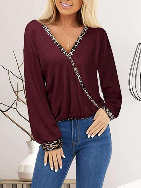 Leopard Stitching V-neck Casual Tops