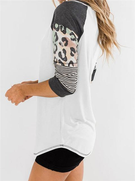 Leopard Stripes Half Sleeve T-shirt