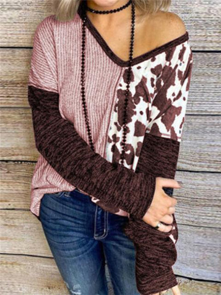 Leopard Stripes Patchwork V-neck Tops
