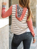 Leopard Stripes Print Color Block Hoodie