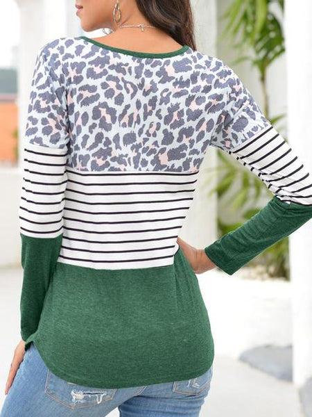 Leopard Stripes Print Long Sleeve T-shirt