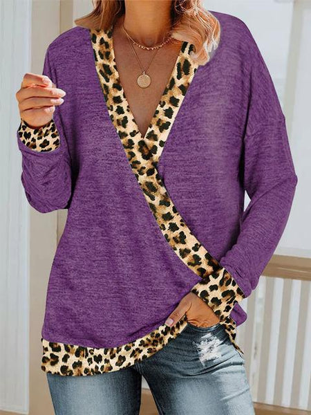 Leopard V-Neck Long Sleeves Casual T-shirts