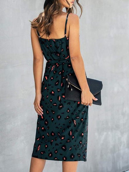 Leopard V Neck Print Long Dress
