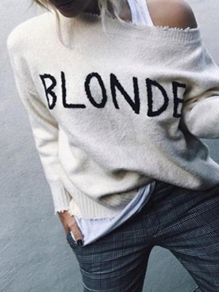 Letter Long Sleeve Loose Sweater