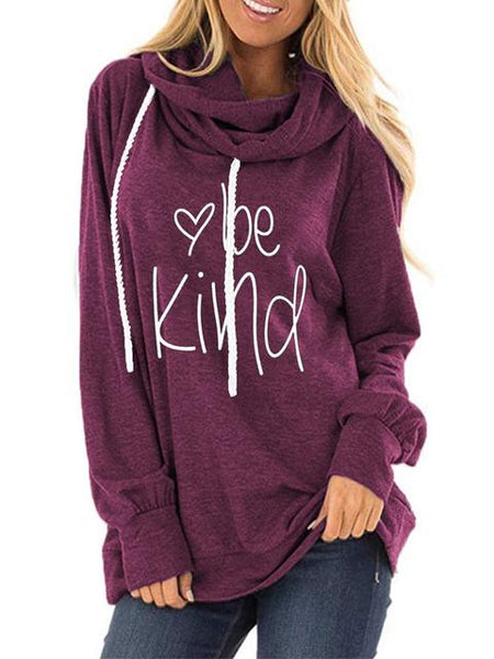 Letter Print Round Neck Hoodie