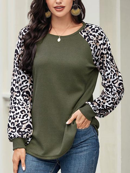 Long Leopard Sleeve Loose Knitted Tops