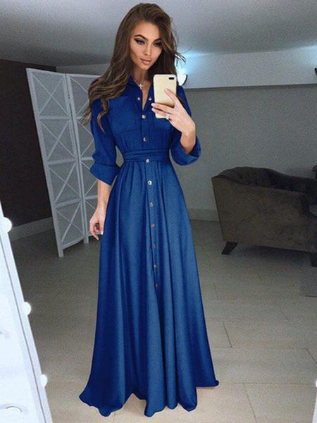 Long Sleeve Button Down Maxi Dress