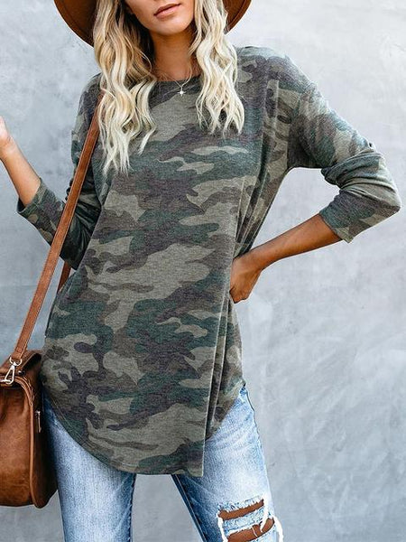 Long Sleeve Camo Print Tops