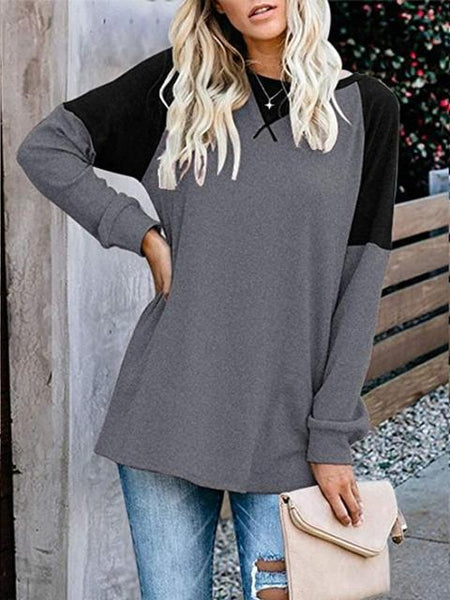 Long Sleeve Color Block Loose Tops