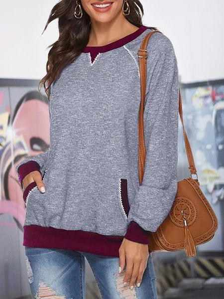 Long Sleeve Contrast Color Tops
