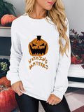 Long Sleeve Halloween Pumpkin Print Tops