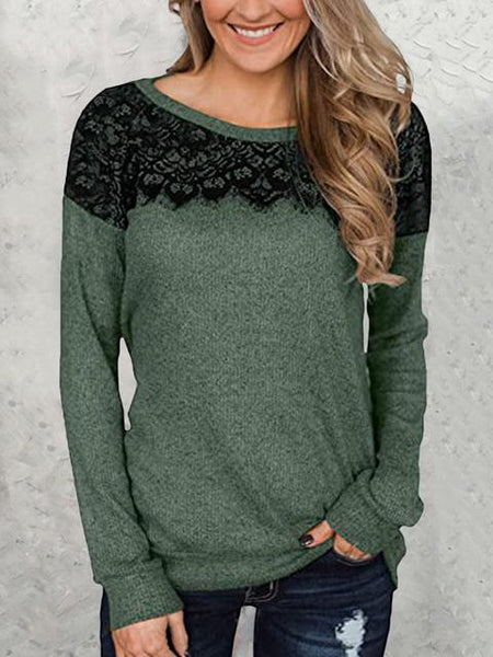 Long Sleeve Lace Patchwork Tops