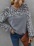 Long Sleeve Leopard Patchwork Plush Tops