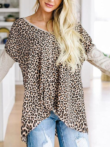Long Sleeve Leopard Print Casual T-shirt