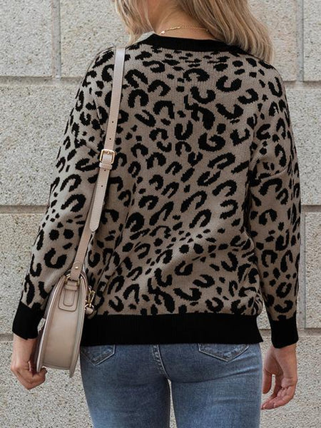 Long Sleeve Leopard Print Knitted Pullover