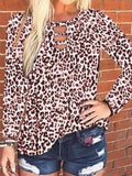 Long Sleeve Leopard Print Tunic Tops