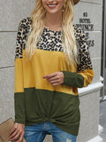 Long Sleeve Leopard Print Twisted Tops