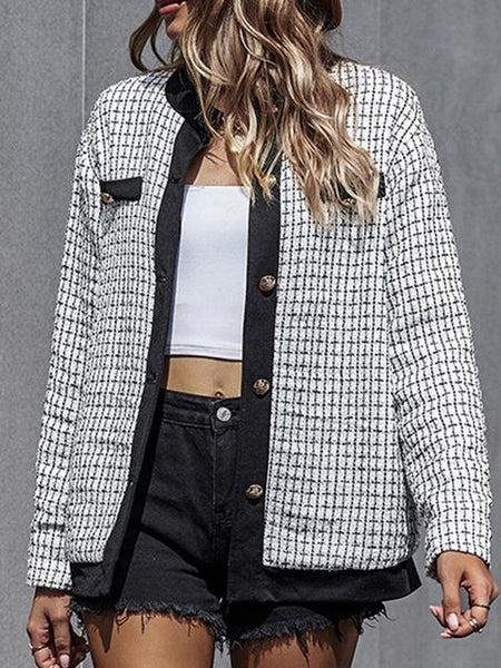 Long Sleeve Plaid Buttoned Cardigan Coat