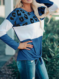 Long Sleeve Printed Knot Tops