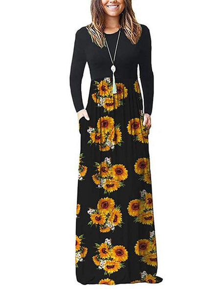Long Sleeve Printed Maxi Dress With Pockets