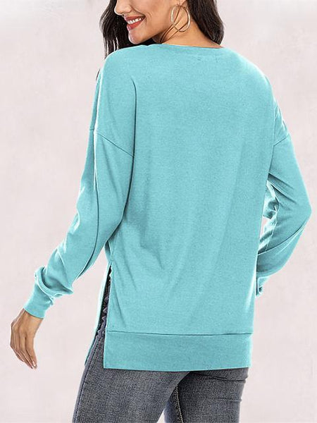 Long Sleeve Split Hem Casual Tops