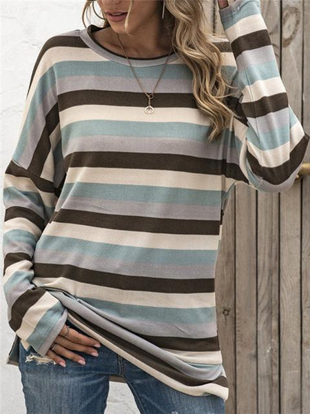 Long Sleeve Striped Casual Tops