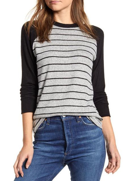 Long Sleeve Stripes Print Tops