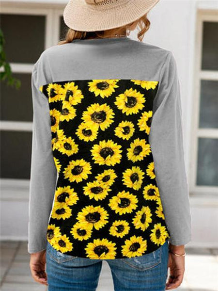 Long Sleeve Sunflower Print Tops
