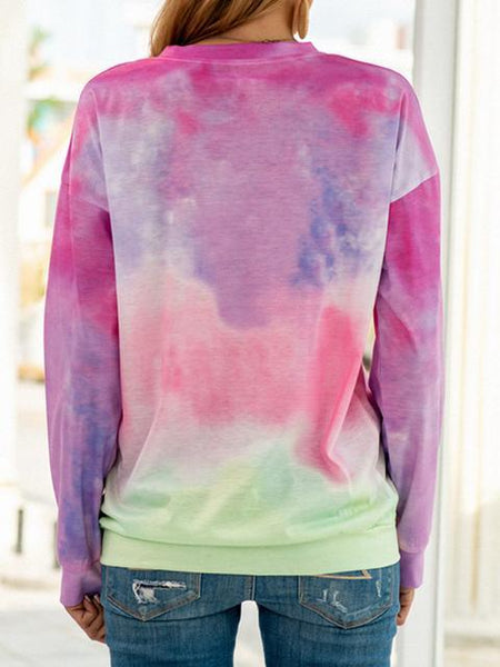 Long Sleeve Tie-dye Print Tops
