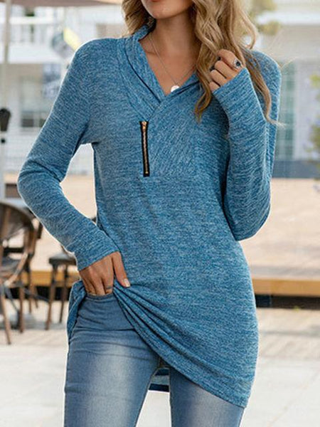 Long Sleeve V-neck Casual Tops