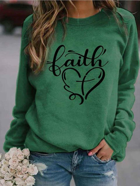 Love Print Pattern Round Neck Sweatshirt
