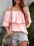 Off Shoulder Ruffled Loose Tops