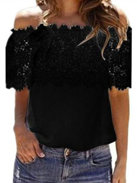 One Word Short Sleeve Lace Tops