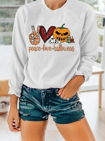 Peace Love Halloween Print Tops