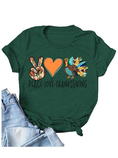 Peace Love Thanksgiving Print Short Sleeve T-shirt